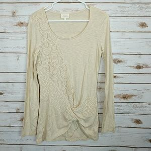 Deletta Cream Lace, Tweed, heathered tunic Size M